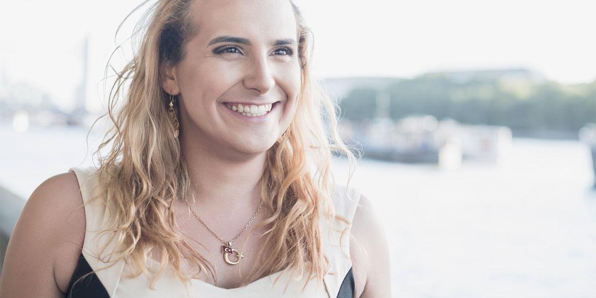 happy transgender woman